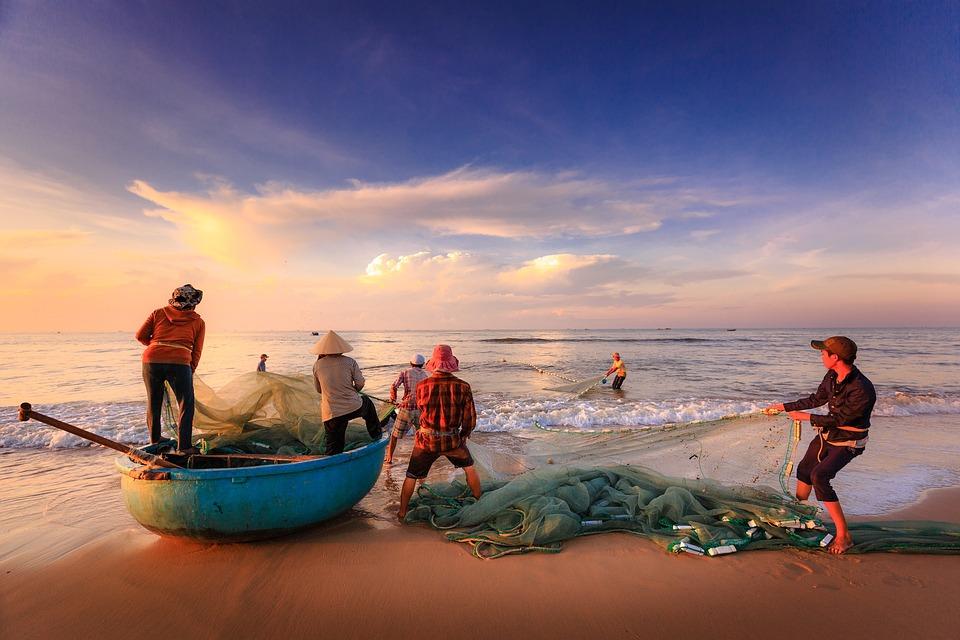 Fishermen, Fishing, Sea, Asia, Vietnam, Fishing Net