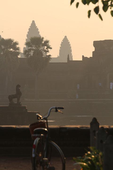 Bike, Angkor Wat, Temple, Sunrise, Asia, Tourism
