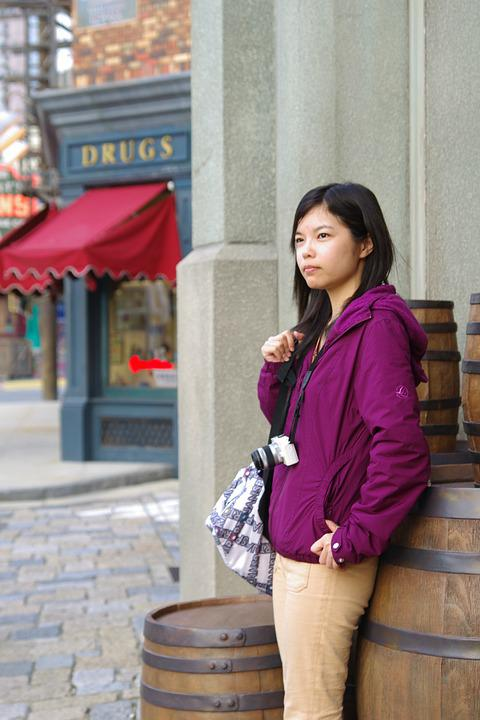 Disney, Tokyo, Japan, Woman, Street, Asia