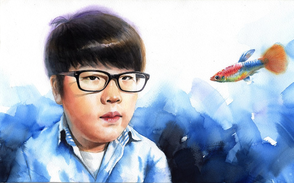 Watercolor Portrait, Watercolor, Art, Works, Asian