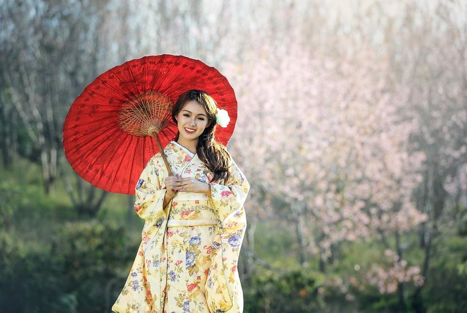 Geisha, Kimono, Umbrella, Parasol, Portrait, Asian