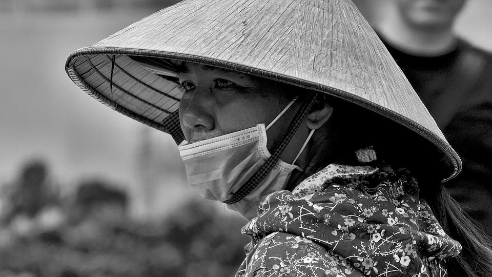 Hat, Asian, Vietnam, Man, Woman, Mask, Asia, Bw