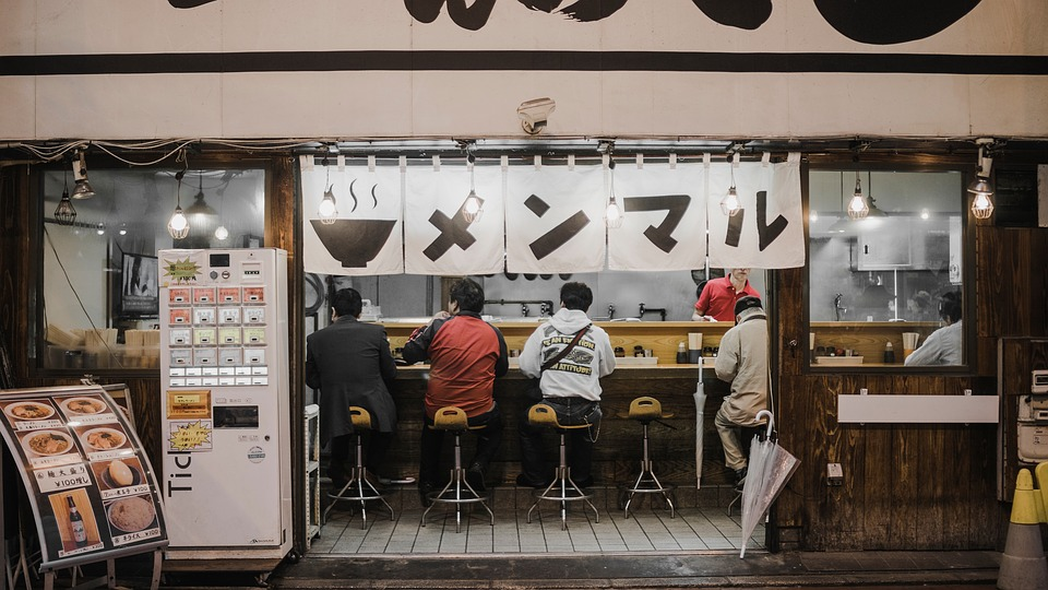 Asian, Sitting, Restaurant, Chairs, Men, People, Menu