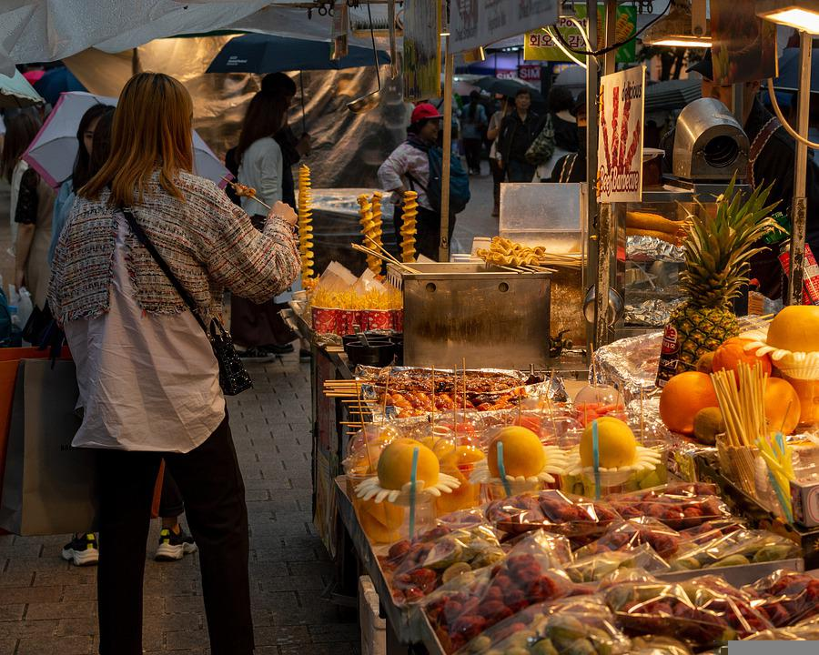 Street Food, Myeongdong, Fast Food, Asian, Tourist Area