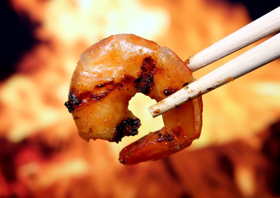 Asian, Barbeque, Chopsticks, Shrimp, Prawn, Grilled