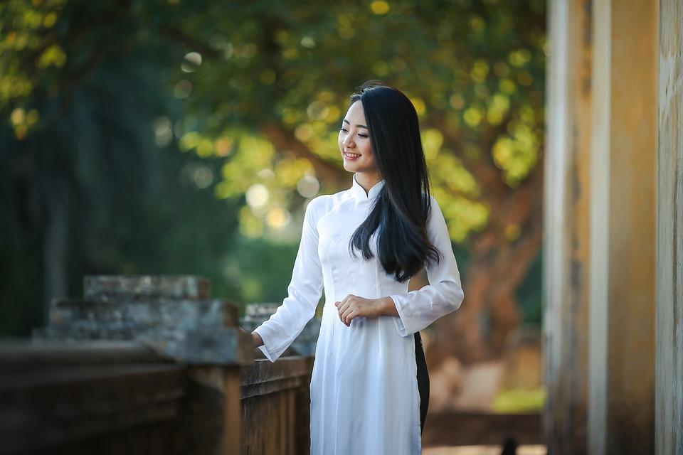 Asian, Dress, Adult, Traditional Dress, White Dress