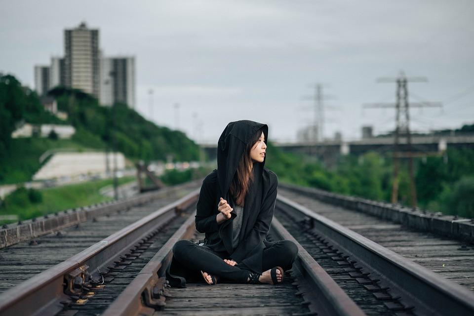 Railroad Tracks, Sitting, Woman, Girl, Asian, Hipster