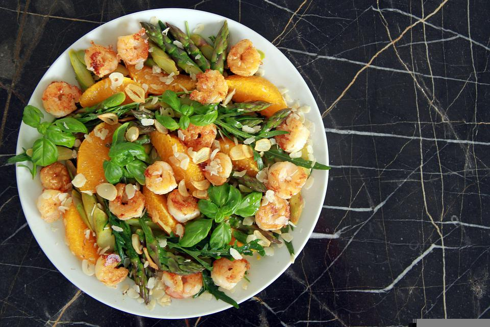 Asparagus, Rocket, Oranges, Shrimp, Salad, Healthy