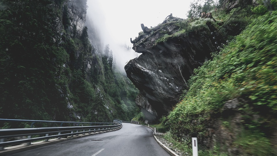 Asphalt, Wetfog, Landscape, Rocks, Outdoors, Road