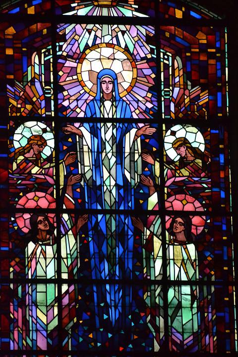 Stained Glass, Colorful, Woman, Angels, Assumption