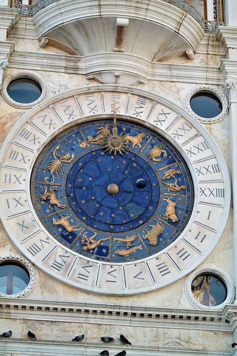 Clock, Zodiac Sign, Starry Sky, Dial, Astrology