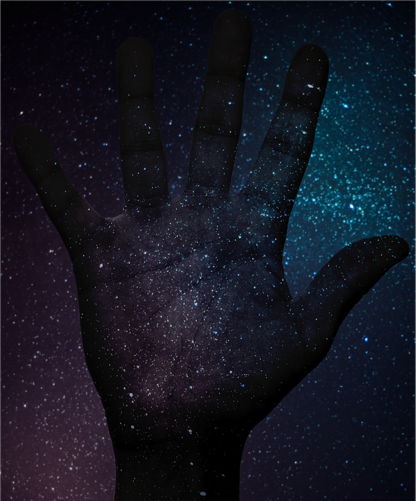 Space, Sky, Hand, Fingers, Paint, Astronomy, Cosmos