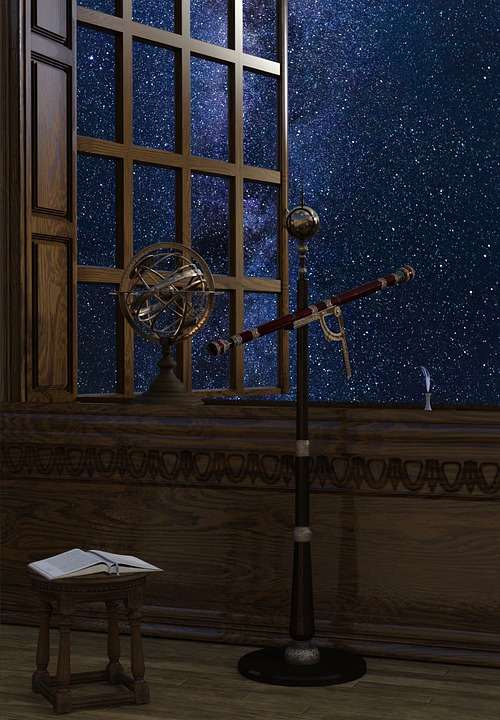 Telescope, Astrology, Astronomy, Old, Window, Space