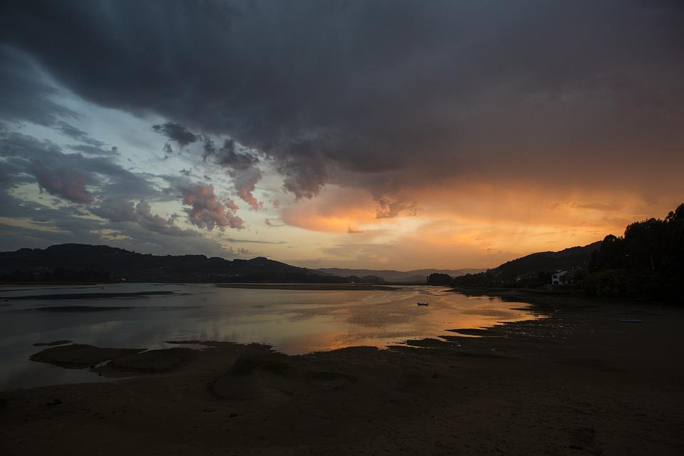 Sunset, Asturias, Sky, Ria, Panorama, Tourism