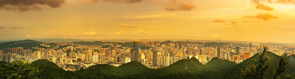 City, Cityscape, At Dusk, Big Gong Ling, Qiangling Shan