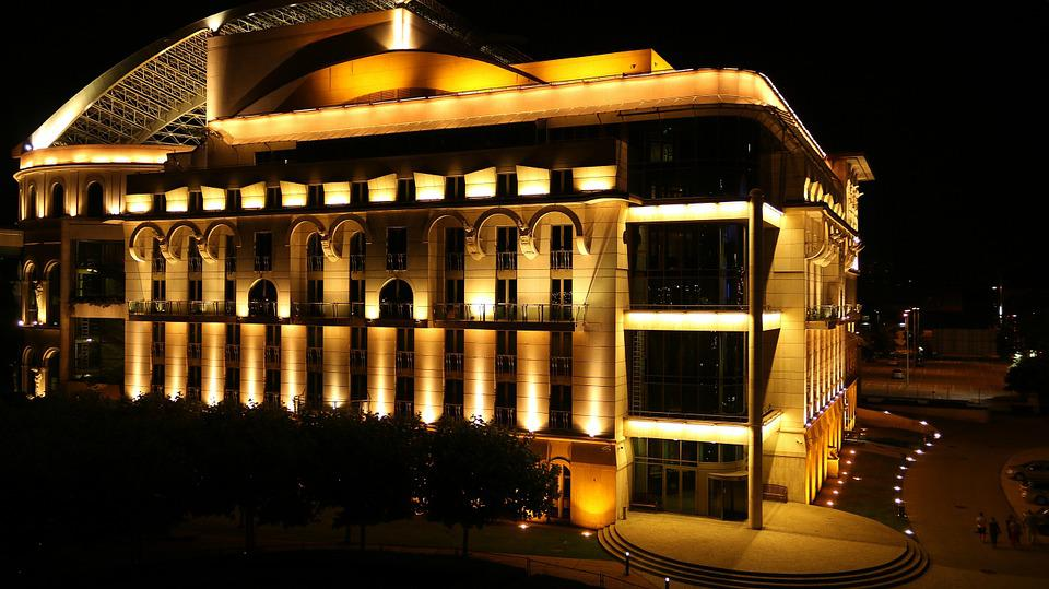 Színhaz, Lights, Budapest, National Theatre, At Night