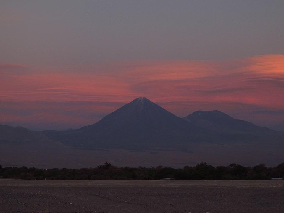Atacama, Volcanoes, Chile, Desert, Sunset, Sand, Sky