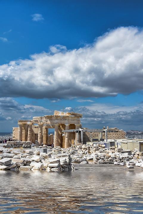 Athens, Flood, Greece, Acropolis, Temple, Culture