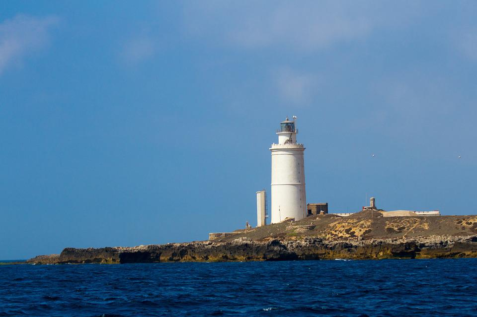 Lighthouse, Tarifa, Atlantic, Blue