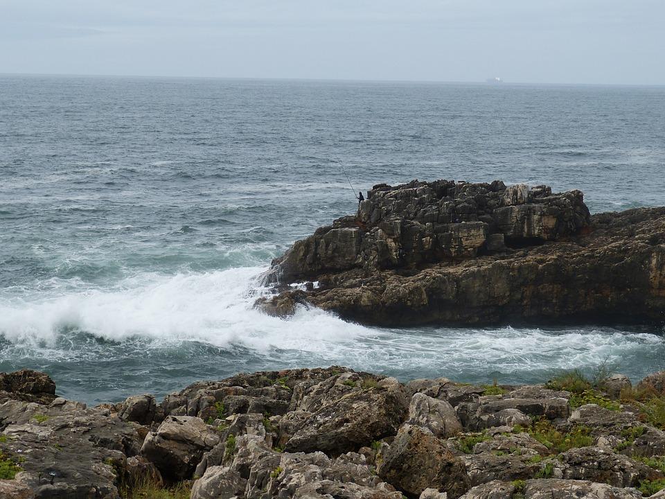 Cascais, Portugal, Rock, Sea, Coast, Wave, Atlantic