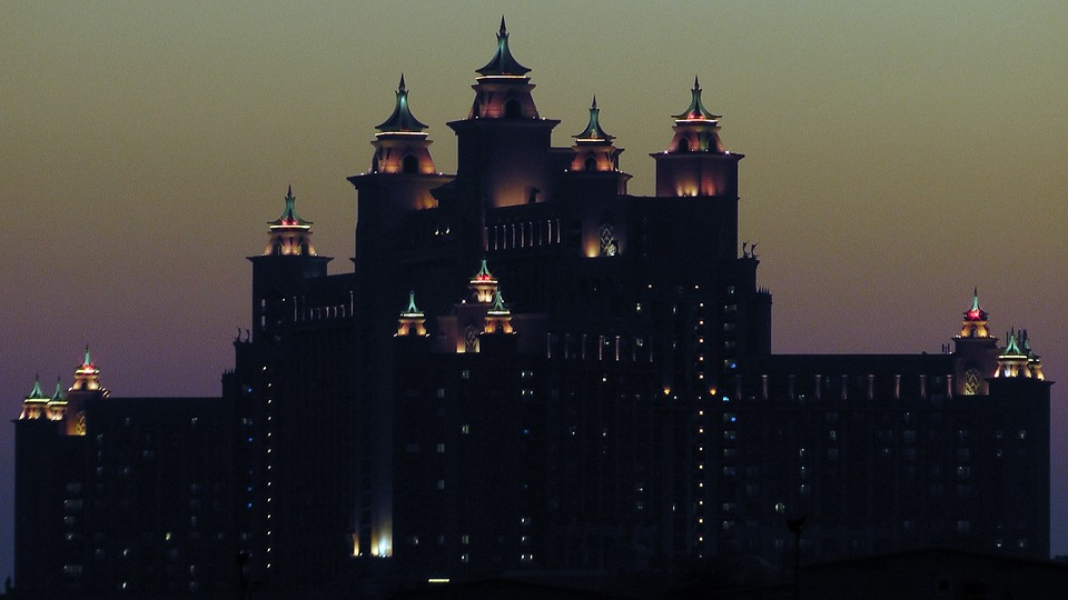 Hotel, Atlantis, Dubai, Evening, Atlantis The Palm