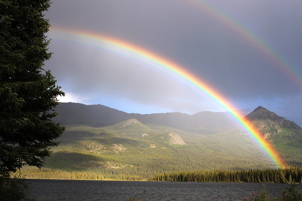 Rainbow, Rain, Arch, Palmer Lake, Atlin, Rainbow Colors