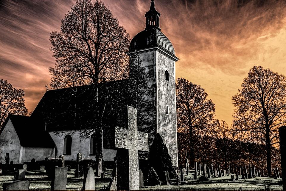 Grödinge, Church, Cemetery, Hdr, Atmosphere, Sweden