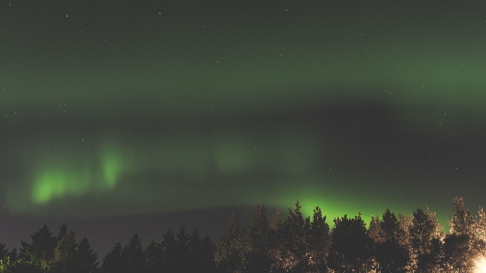 Aurora, Green, Space, Stars, Sky, Atmosphere, Tree