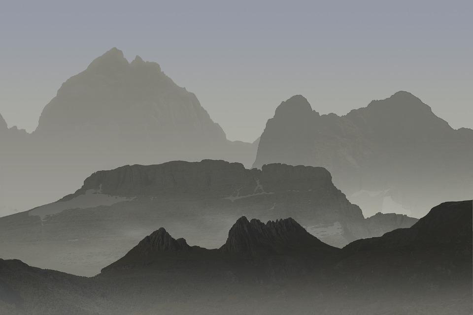 Mountains, Landscape, Sun Sunset, Atmospheric
