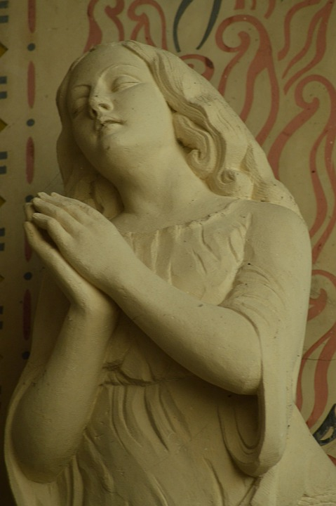 Statue, Pierre, White, Woman, Hands, Attached, Pray