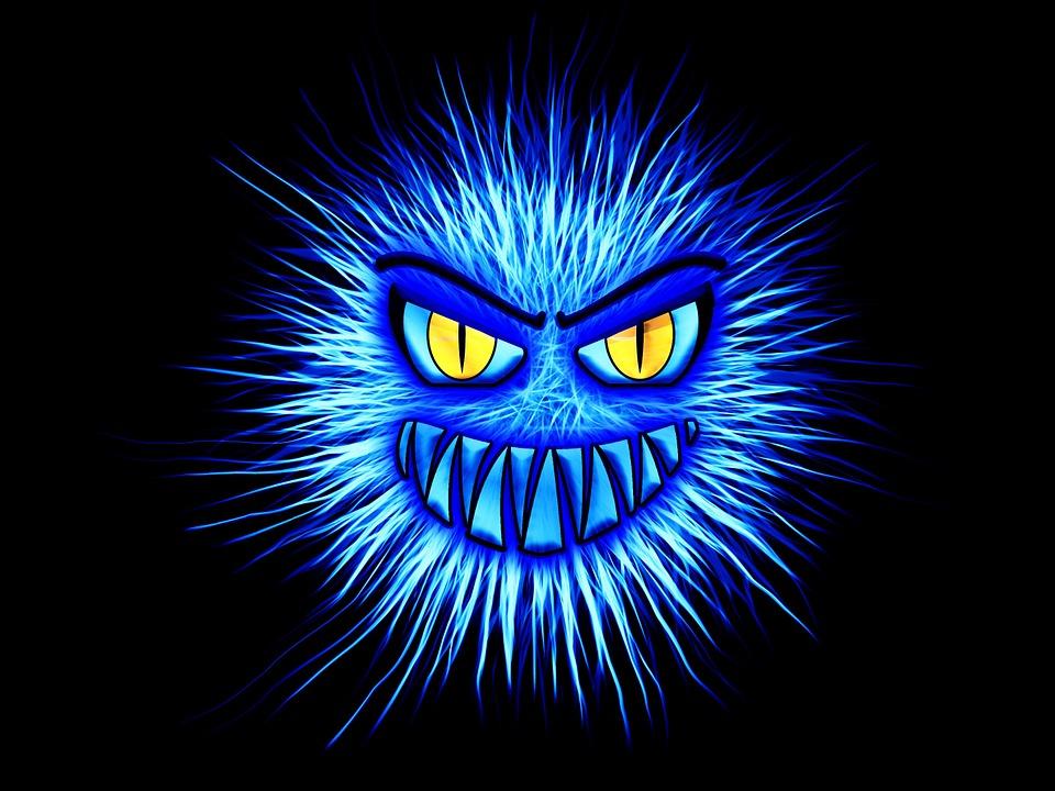 Monster, Blue, Internet, Attack, Firewall