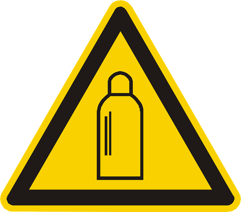 Gas Cylinder, High Pressure, Warning, Attention, Yellow