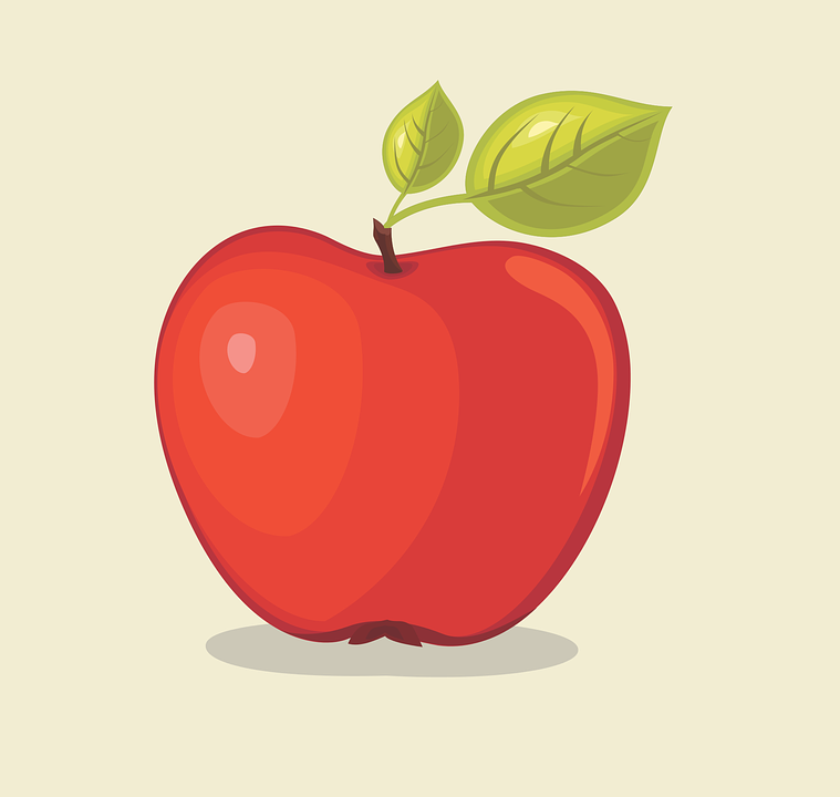 Apple, Red Apple, Leaves, Vector, Illustrator, Au, Eps