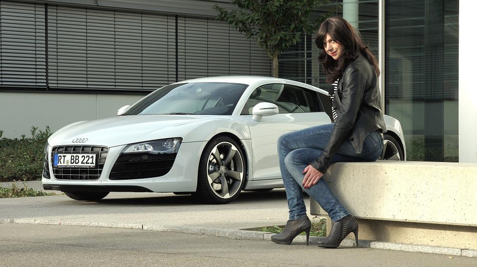 Business Woman, Audi, R8, V10, Sports Car
