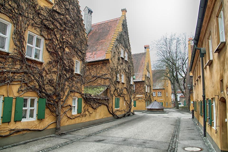 Augsburg, Germany, Street, Houses, Buildings