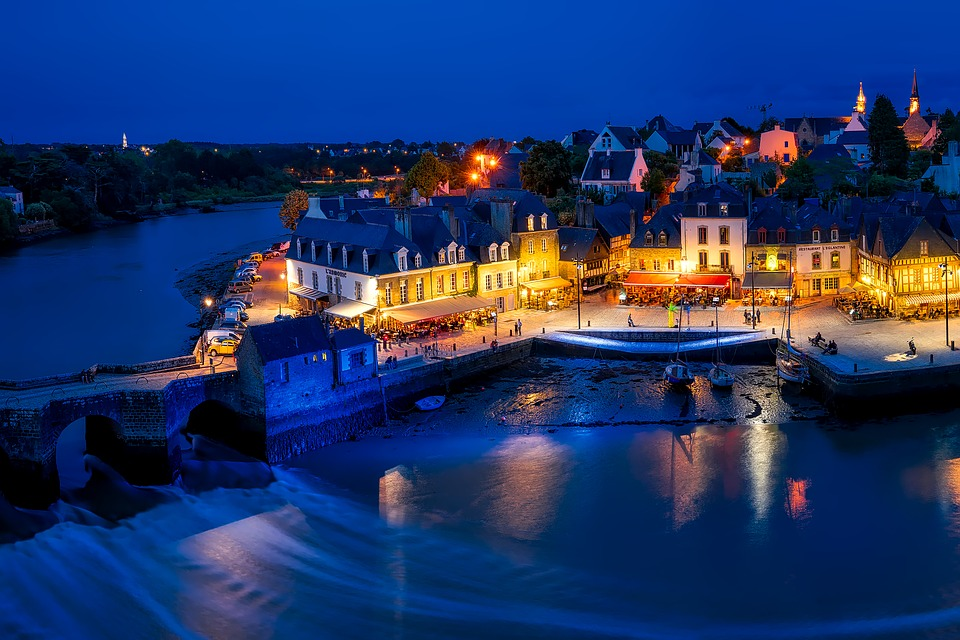 Auray, France, Town, City, Village, Sunset, Dusk