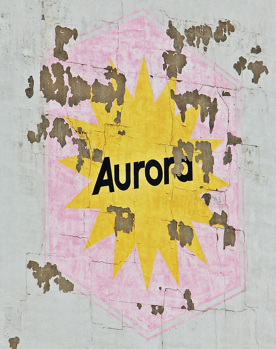 Aurora Building, Facade, Wall, Lettering, Weathered