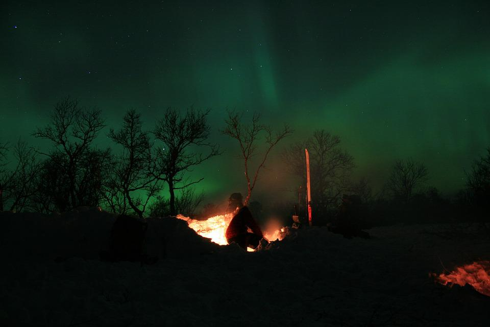 Northern Lights, Winter, Plateau, Night, Aurora