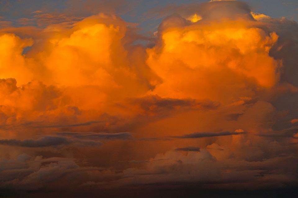 Clouds, Sky, Orange, Blue, Australia, Sunlit