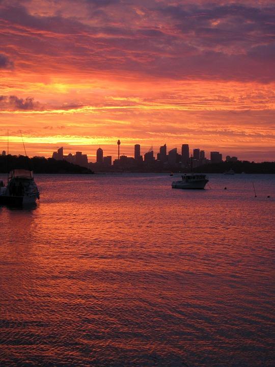 Sunset, Skyline, Watson Bay, Sydney, Australia, Dusk