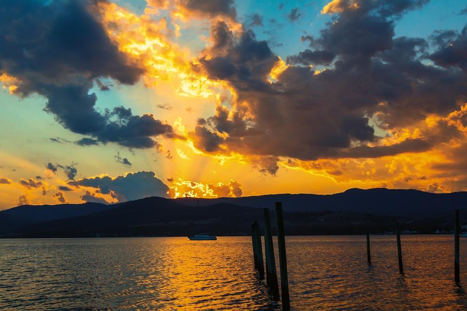 Australia, Tasmania, Sunset, Water, Dawn, Nature, Dusk
