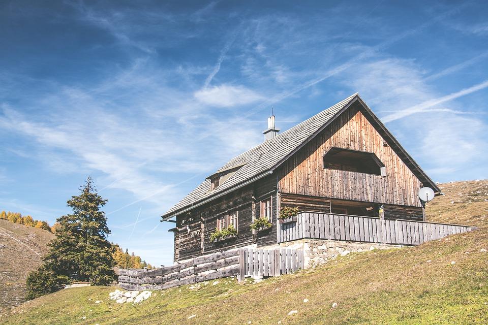 Mountain, Chalet, Sky, Alps, Nature, Clouds, Austria