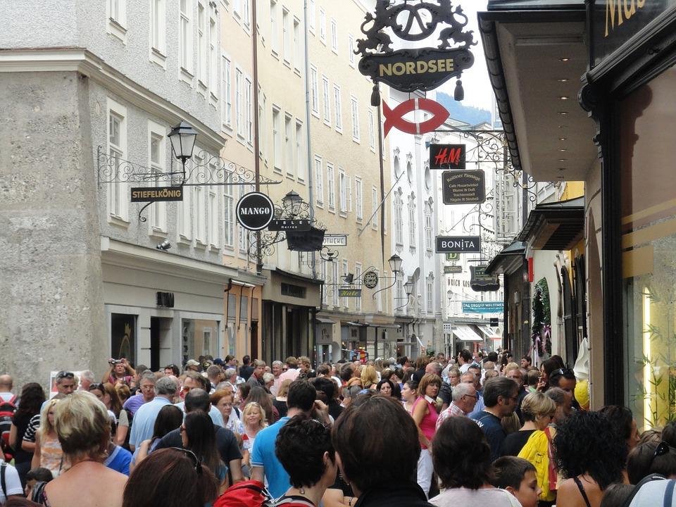 Salzburg, Austria, Getreidegasse, Tourism, Tourists
