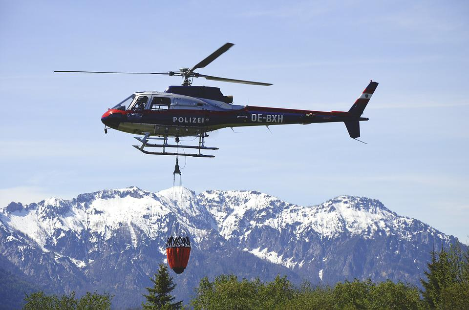 Helicopter, Water, Police, Austria, Mountains, Rescue
