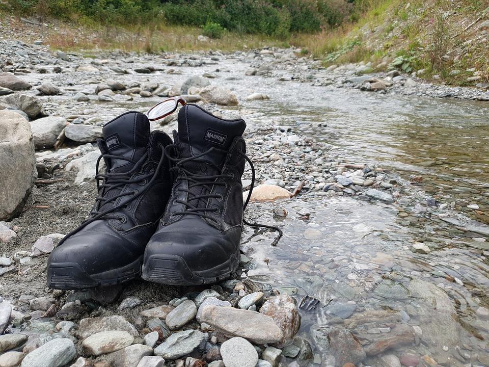 Shoe, River, Mountains, Stone, Austria, Outdoor, Stones