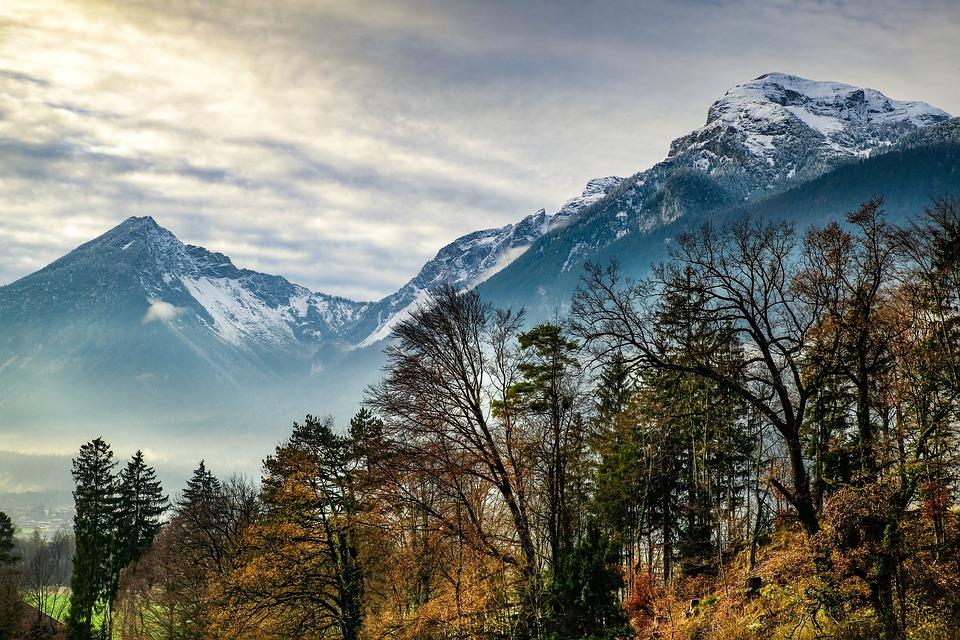 Austria Tirol, Mountains, Autumn, Clouds, Fog