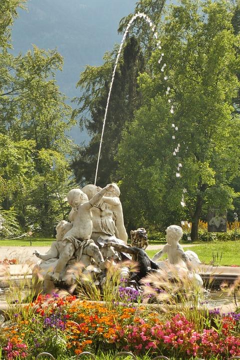 Bad Ischl, Villa Park, Fountain, Austria, Architecture