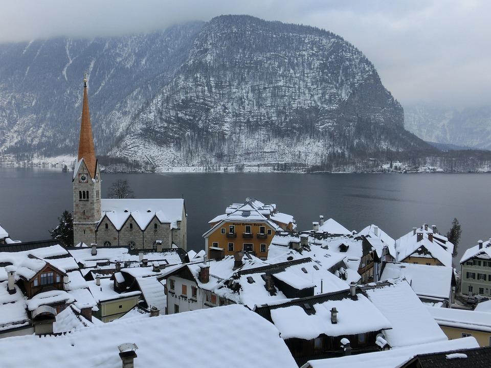 Hallstatt, Lake, Fog, Winter, Austria, Snow, Roofs