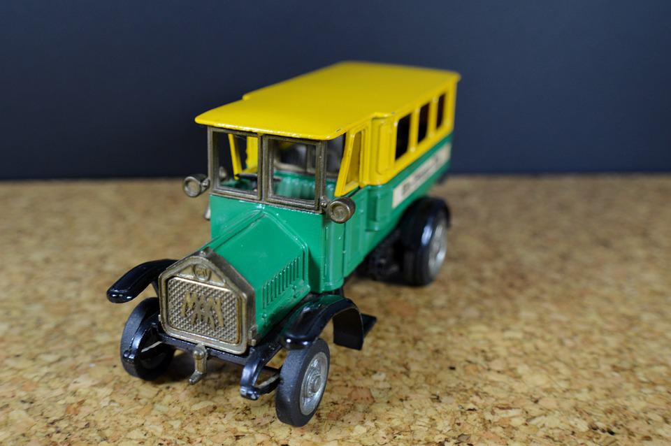 Bus, One, Auto, Model, Oldtimer, Green, Yellow