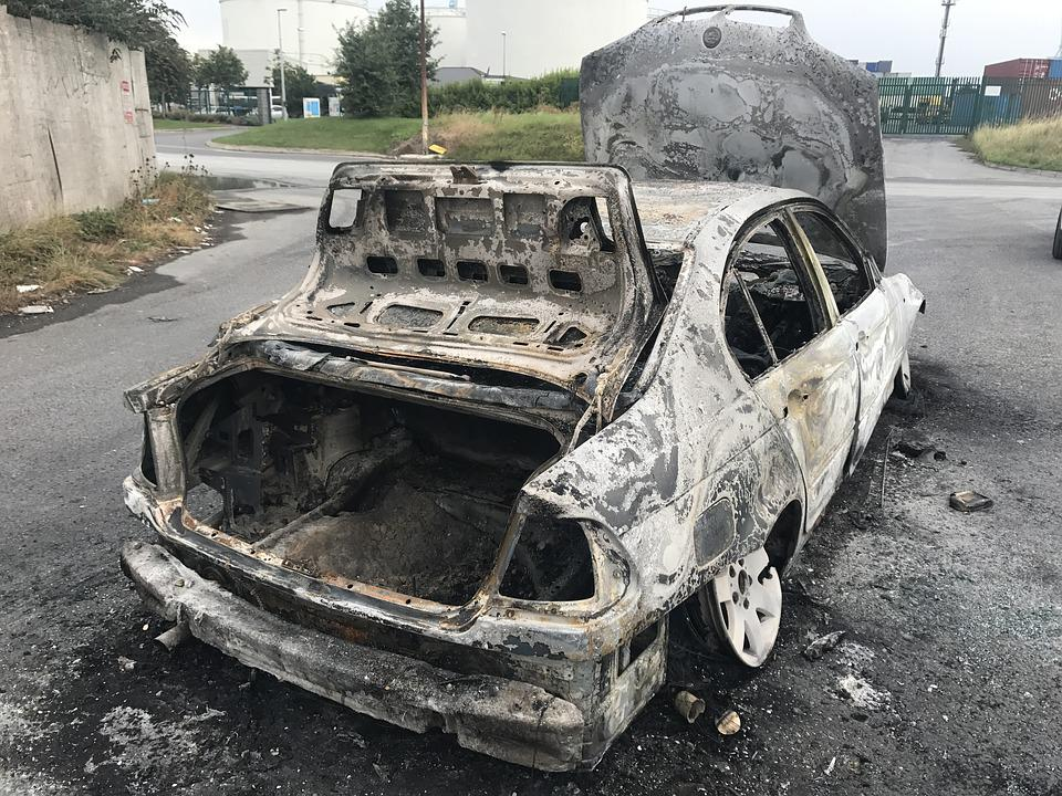 Auto, Brand, Old Car, Vehicle, Burned Out, Fire Damage
